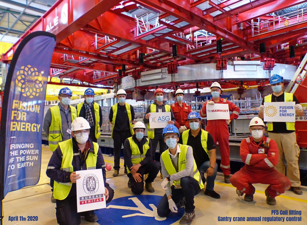 Representatives of F4E, ASG Superconductors, Mamoet and Bureau Veritas during the Gantry crane annual regulatory control