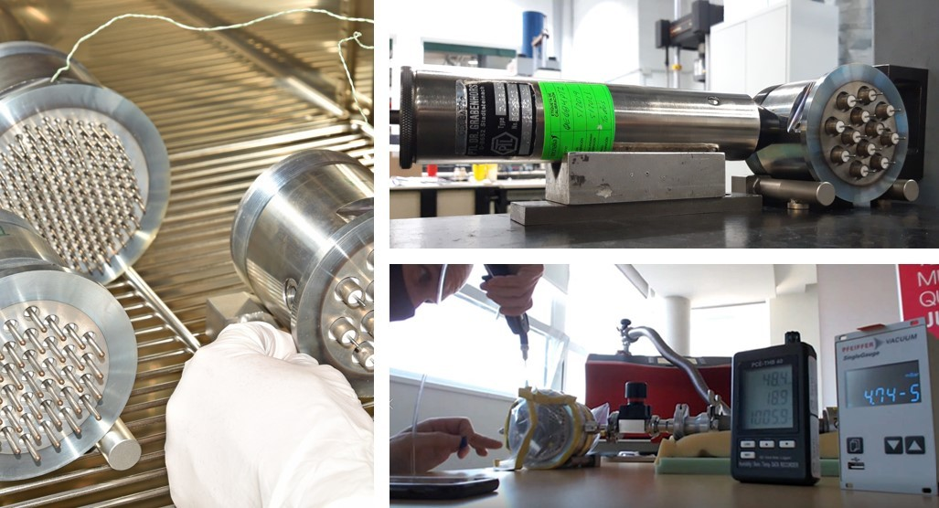 Qualification of electrical feedthrough bulkheads being subject to different campaign tests. Left: thermal cycling tests; top right: impact test; bottom right: helium leak test.