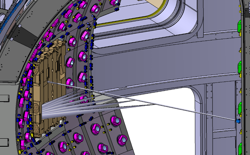 Illustration of the laser injected by the Core Plasma Thomson Scattering system into the vacuum vessel, reaching the beam dump (small blue box). The scattered light is collected by the system for further analysis.