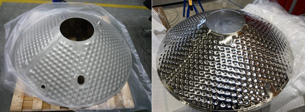 Full-size sample of a hydroformed component of the thermal radiation shield, before and after polishing.